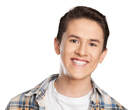 Smiling handsome man on white background