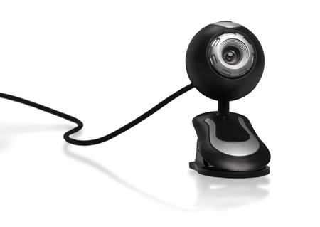 Overhead security camera on white background