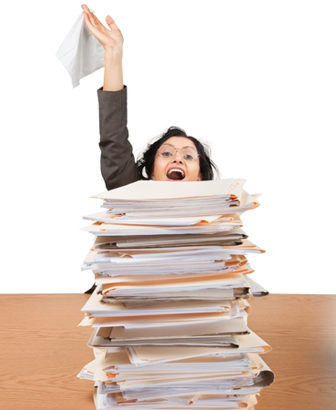 Portrait of an Ecstatic Employee Behind a Stack of Documents Holding Document