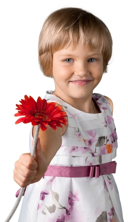 Cute little girl with red flower isolated on white