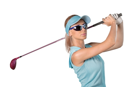 Young happy Caucasian woman with golf club over white background. Stock Photo