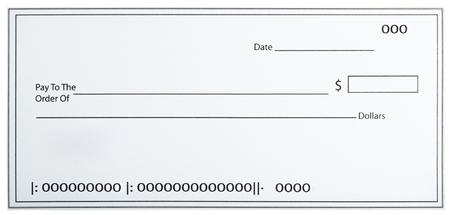 Blank White Cheque Stock Photo
