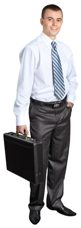 Confident Businessman Standing with Briefcase and Hand in Pocket - Isolated