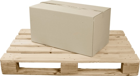 Cardboard Box On Top Of Wooden Shipping Pallet - Isolated Stock Photo