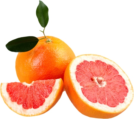 Grapefruit with a wedge of grapefruit