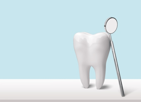 Tooth and dentist mirror