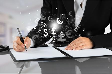 Business man in white shirt using digital tablet