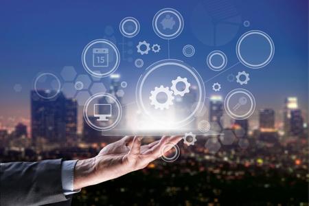 Industrial integration automation modernization business internet concept. Gear arrow industry 4 manufacture engineering technology 免版税图像