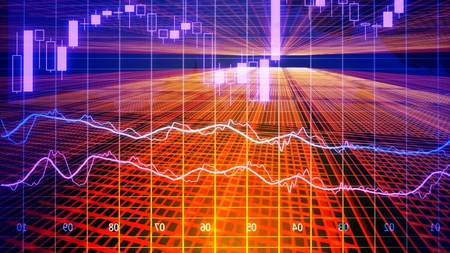 Data analyzing in forex market trading: the charts and summary info for making trading. Charts of financial instruments for technical analysis. Stock trading market background as concept. 写真素材