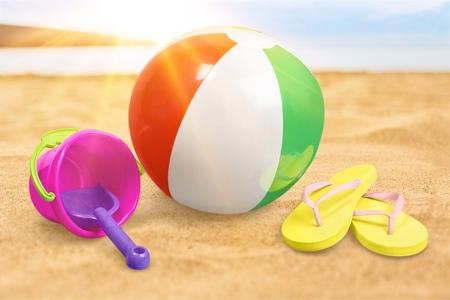 Beach Accessories On White
