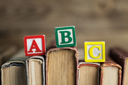 Learning english concept, tag and vintage books, soft focus. Toned.