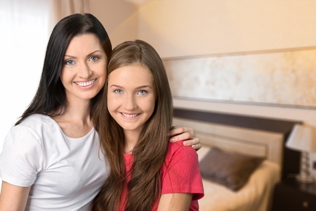 Asian Mother and Daughter Stock Photo