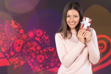 Attractive Young Woman with Red Gift Box