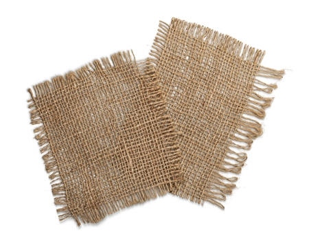 Two rustic napkins isolated on white background