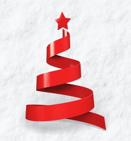 Ribbon christmas tree Stock Photo