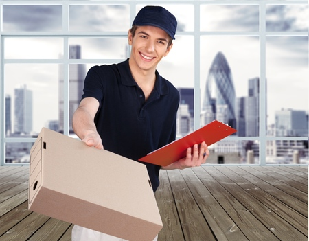 Heres your box. Delivery man
