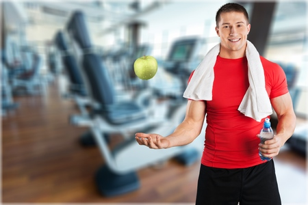 Workout with Apple and Water Bottle Banco de Imagens