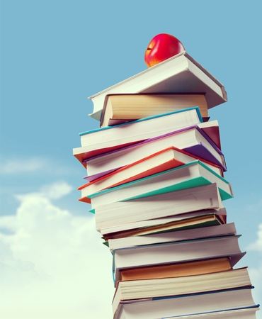A stack of school books Stock Photo