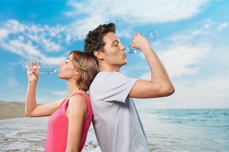 drinking couple Stock Photo
