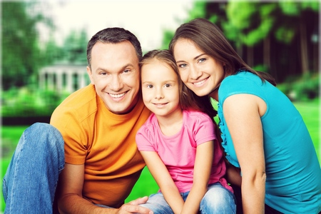 Family of Three on White Banque d'images