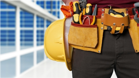 Contractor Man Wearing Carpenter Toolbelt On White