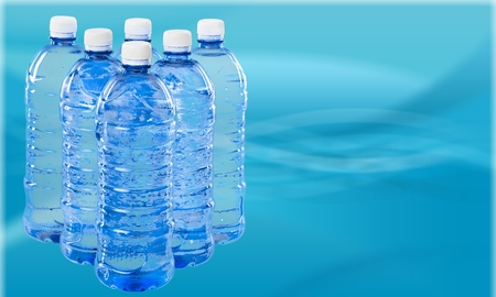 Row of Bottled Water Stock Photo