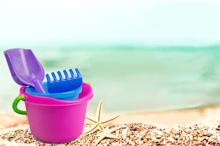 Toy bucket and spade isolated on white background Stock Photo
