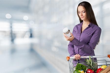 Supermarkt - voedingswaarde-informatie Stockfoto