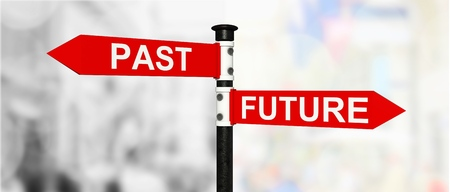Future past sign post Stock Photo