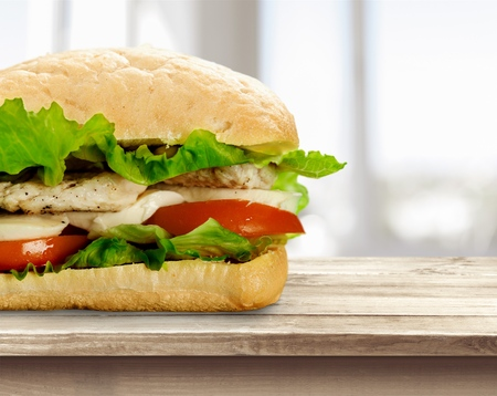 Sliced ham sandwich