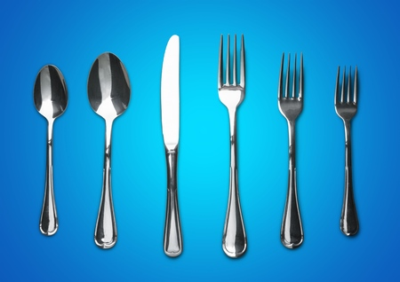 Photo of fork knife and spoon on white background Фото со стока - 92171521