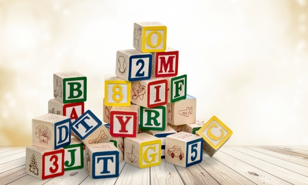 wooden toy cubes with letters. Wooden alphabet blocks. Stok Fotoğraf