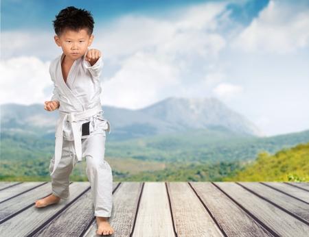 six year old practising karate