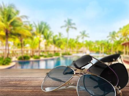 Three pairs of sunglasses isolated on white Stock Photo