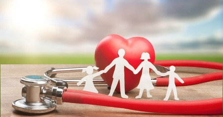 Family Cut-out  Medical Insurance Concept Stock Photo