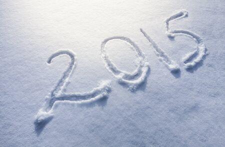 Year 2014 written in Snow in High Key