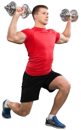 Muscular man doing exercises with dumbbells on white background