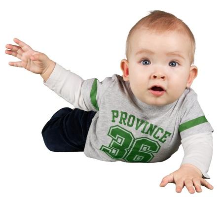 Portrait of  cute  baby boy on background