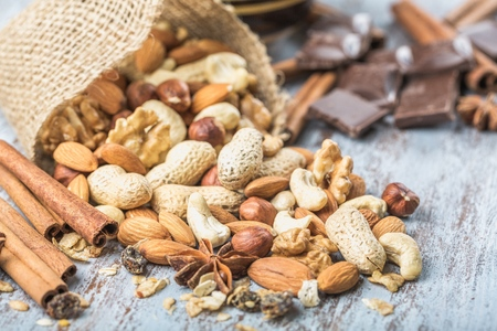 Mix of Nuts, Cinnamon and Anise Stars