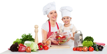 Mother and Daughter Having Fun in Kitchen Isolated