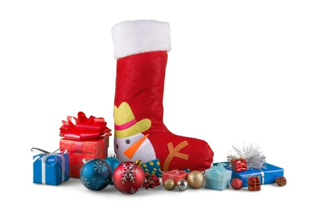 christmas stocking with ornaments and small presents stock photo 93744882 - Small Christmas Stocking Decorations