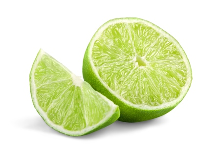 A Fresh lime and slice, Isolated on white background Reklamní fotografie