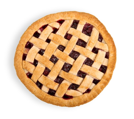 Delicious baked cherry pie, top view