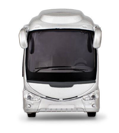 Realistic silver bus front isolated on white