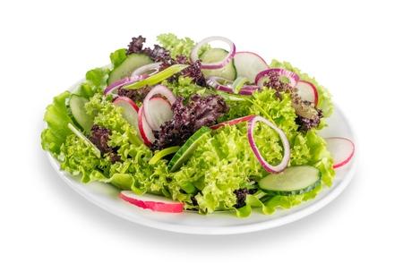 Fresh tasty vegetable salad in bowl on white background