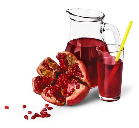 Glass and Jug of pomegranate juice isolated on white background Standard-Bild