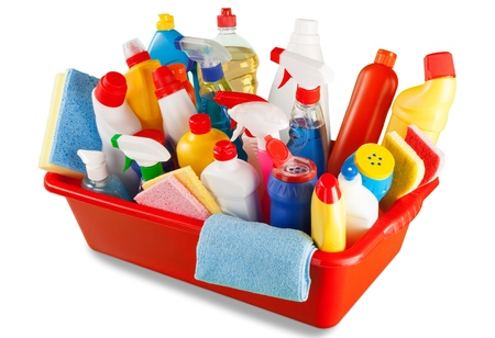 Cleaning Products and Supplies in Basket  - Isolated Stock Photo