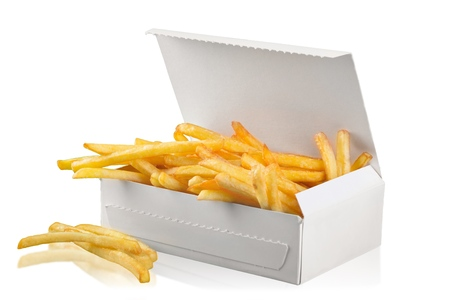French Fries in paper package isolated on white background Standard-Bild