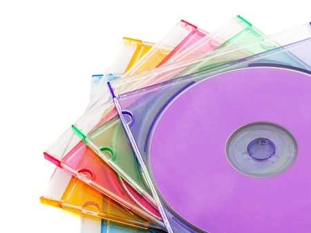 Five Colorful Compact Discs in Plastic CD Case Stock Photo