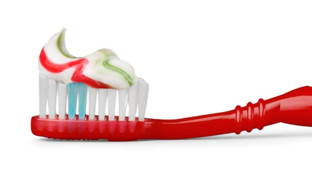 Toothbrush with toothpaste isolated on white background 스톡 콘텐츠